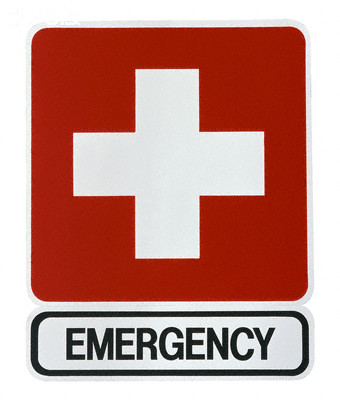 Red and White Emergency Sign --- Image by © Lawrence Manning/Corbis